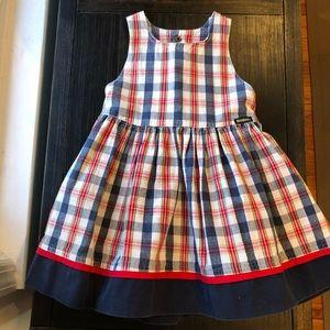 Classic Osh Kosh apron dress in beautiful plaid